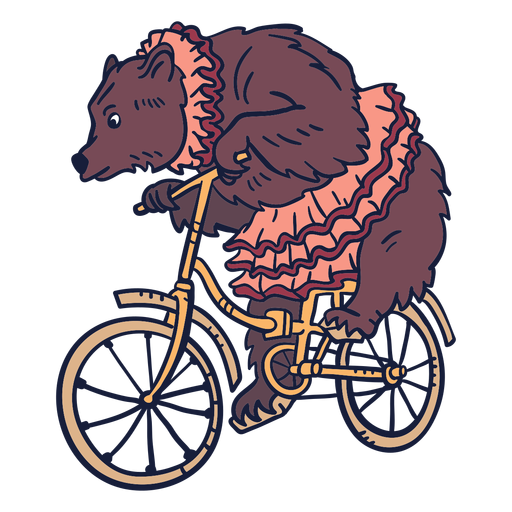 Bear circus cycling hand drawn Transparent PNG