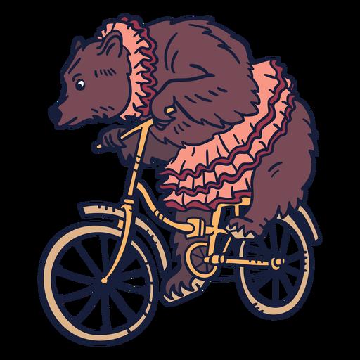 Bear circus cycling hand drawn
