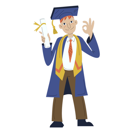 Dibujado a mano niño graduación