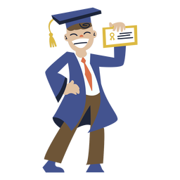 Boy posing graduation flat