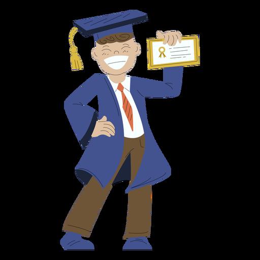 Boy posing graduation hand drawn