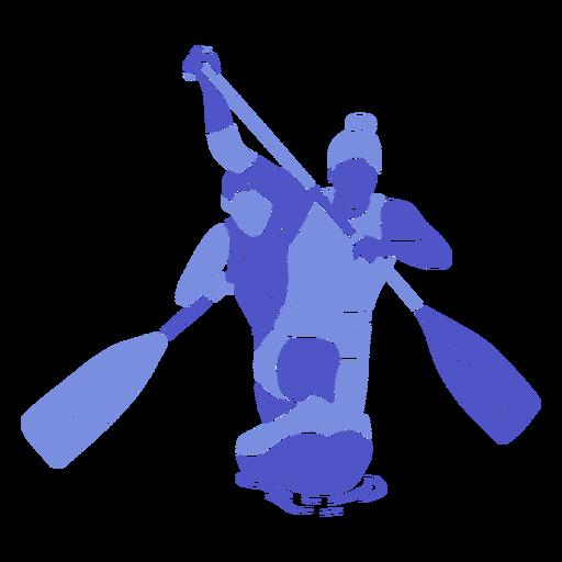 Canoeing duo paddling flat