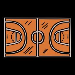 Cancha de baloncesto superior dibujada a mano