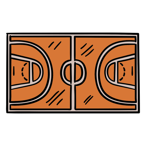 Court top basketball hand drawn