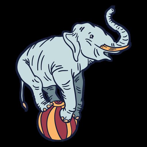 Dibujado a mano elefante circo