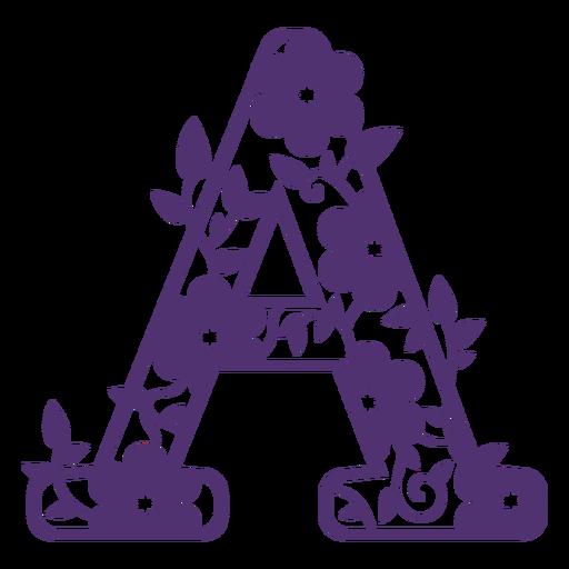 Letra do alfabeto floral um