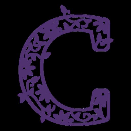 Alfabeto floral letra c Transparent PNG