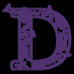 Floral alphabet letter d