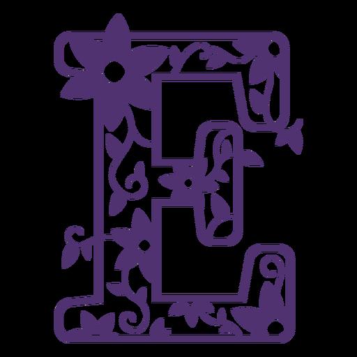 Floral alphabet letter e
