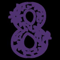 Número ocho del alfabeto floral