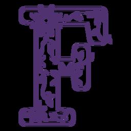 Letra do alfabeto floral f