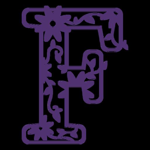 Floral alphabet letter f Transparent PNG