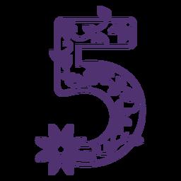 Alfabeto floral número cinco