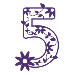 Floral alphabet number five