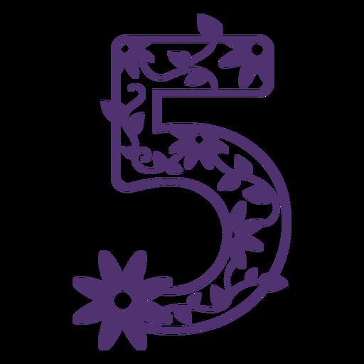 Número cinco del alfabeto floral