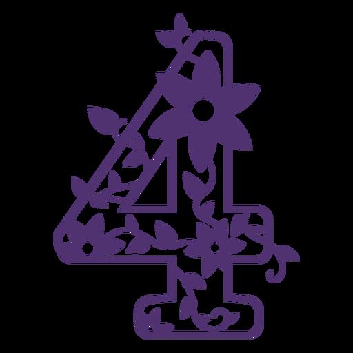 Número cuatro del alfabeto floral Transparent PNG