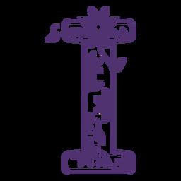 Floral alphabet letter i
