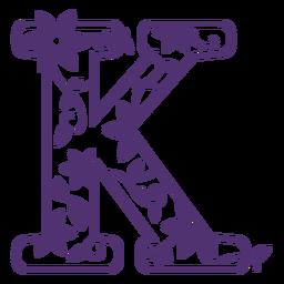 Floral alphabet letter k