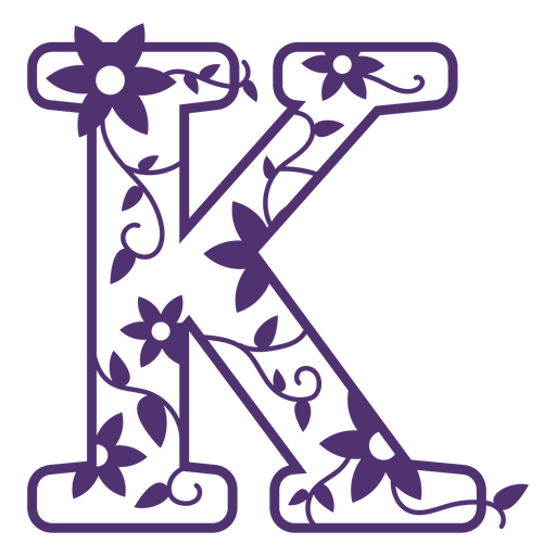 Alfabeto floral letra k Transparent PNG
