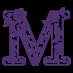 Floral alphabet letter m