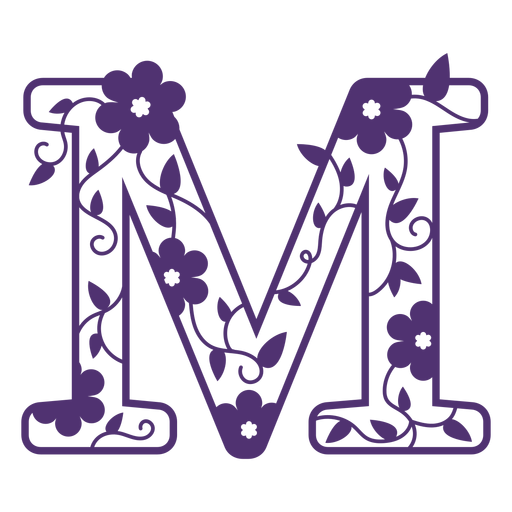Alfabeto floral letra m Transparent PNG