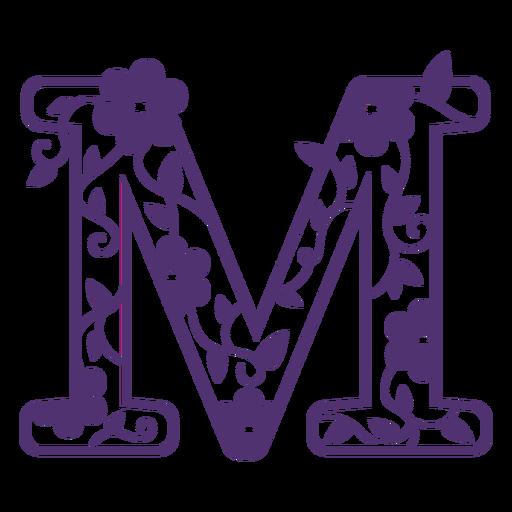 Letra do alfabeto floral m Transparent PNG