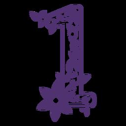 Floral alphabet number one