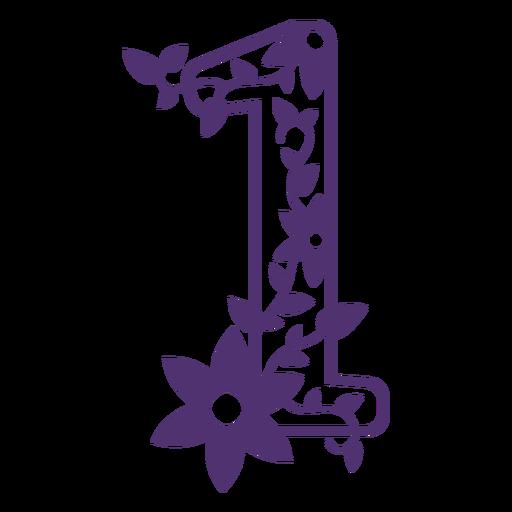 Alfabeto floral número uno Transparent PNG