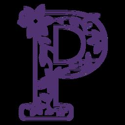 Letra do alfabeto floral p