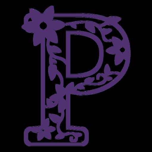 Floral alphabet letter p
