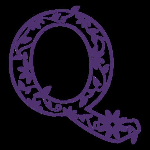 Floral alphabet letter q