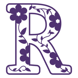 Floral alphabet letter r