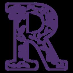 Letra do alfabeto floral r