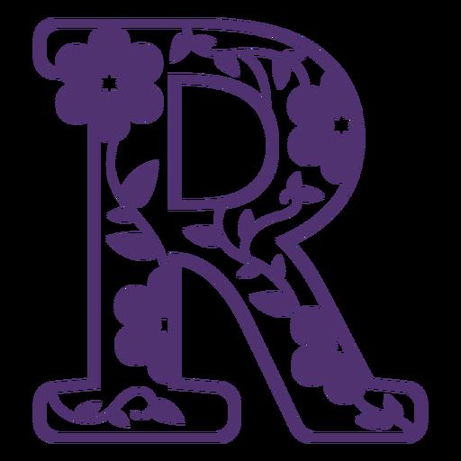 Alfabeto floral letra r Transparent PNG