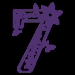 Floral alphabet number seven