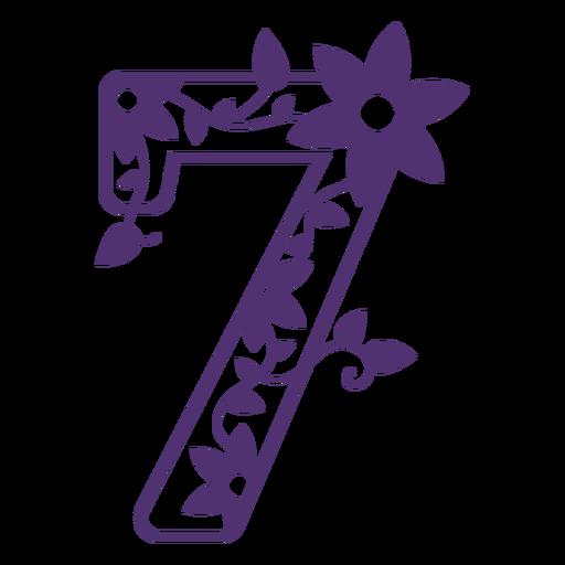 Número siete del alfabeto floral Transparent PNG