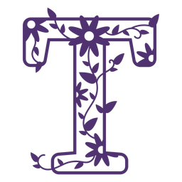 Floral alphabet letter t