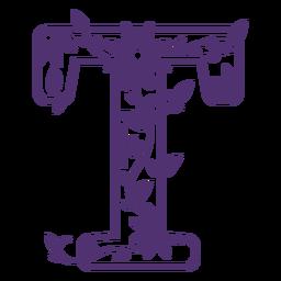 Letra do alfabeto floral t