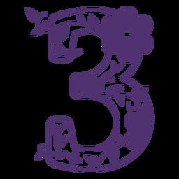 Floral alphabet number three