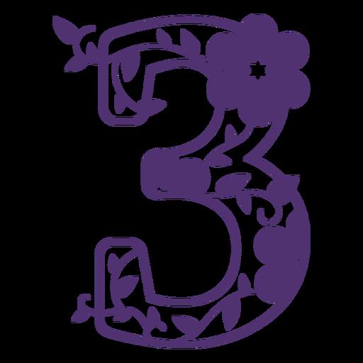 Número tres del alfabeto floral