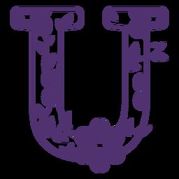 Floral alphabet letter u