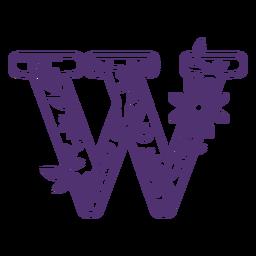 Floral alphabet letter w