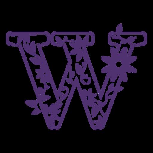 Alfabeto floral letra w