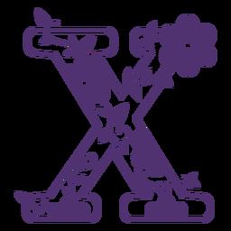 Floral alphabet letter x