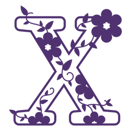 Letra del alfabeto floral x