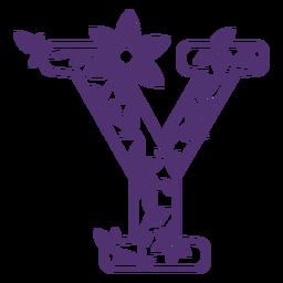 Floral alphabet letter y