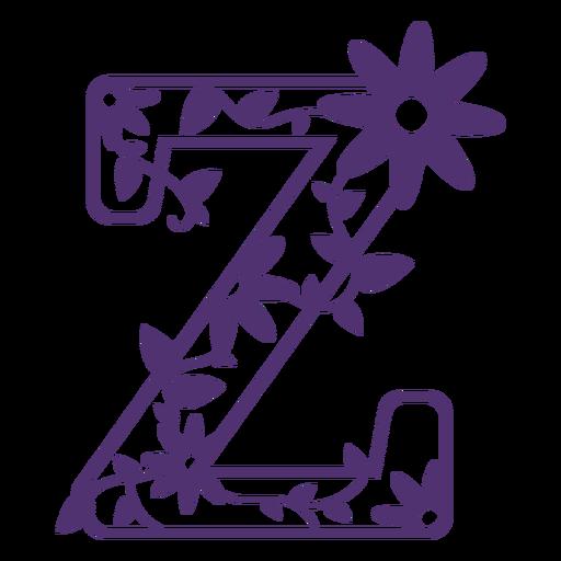 Floral alphabet letter z
