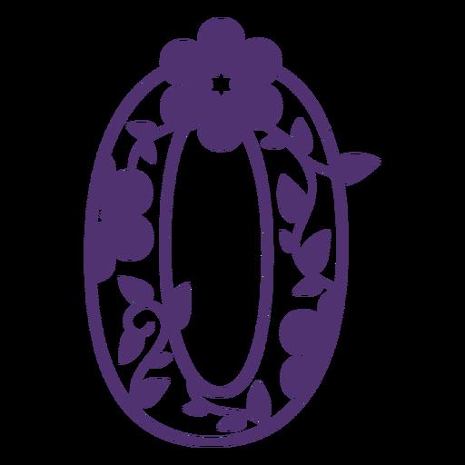 Floral alphabet number zero