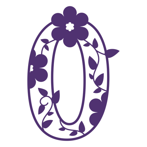 Número cero del alfabeto floral Transparent PNG