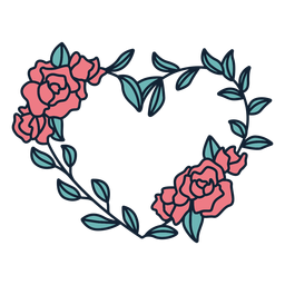 Flower wreath roses hand drawn